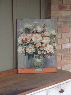 Vintage Flower Painting  Large Floral Print  by FoundBlessings
