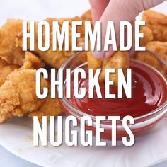 Homemade Chicken Nuggets No more drive thru McDonald's nuggets, this homemade recipe is so good you'll never want to order out again! Grab your chicken and other ingredients and you'll be dipping these chicken nuggets in your favorite sauce in no time! Homemade Chicken Nuggets, Chicken Nugget Recipes, Fried Chicken Recipes, Kids Chicken Nuggets, Healthy Chicken Nuggets, Chicken Recipes For Kids, Indian Food Recipes, Good Recipes, Dinner Recipes