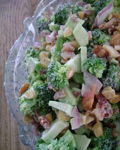 LOW CARB ~Broccoli Salad 1 head Broccoli 1/4 purple onion fine diced 5-6 strips bacon 1/4 cup coarse chop walnuts or cashews Dressing: 1 cup Mayo 2 Tb Vinegar 1 tsp Splenda Dash Salt Pepper Garlic Pwd
