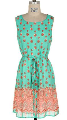 Mint and Coral Sleeveless Dress