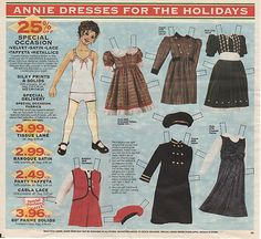 Annie Paper Doll Cloth World Advertisement Page from Circular Holidays | eBay