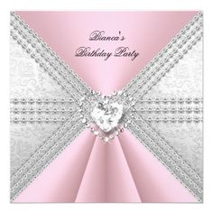 Elegant Birthday Silver Pink Diamond Heart Personalized Invitations by Zizzago.com
