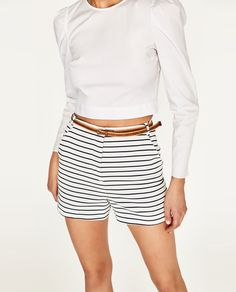 Image 4 of STRIPED SHORTS WITH BELT from Zara