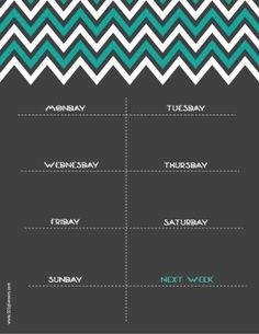 printable weekly calendar with chevron design Free Printable Weekly Calendar, Weekly Planner Template, Free Printables, Organizing, Chevron, Cleaning, Templates, Design, Models