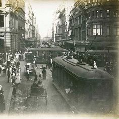 looking north along George Street from the corner of King Street, Sydney. Old Pictures, Old Photos, Sydney New South Wales, Aboriginal History, Australian Photography, Sydney Beaches, Sydney City, Historical Pictures, Sydney Australia