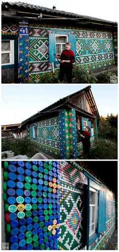 What can be done with 30,000 beverage bottle caps?  The Russian Aunt screen, with 30,000 beverage bottle + nails, coupled with a great love of the heart of life, the achievements of this beautiful unique wall.