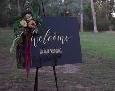 Gold Welcome To Our Wedding Chalkboard. Wedding Signage Decoration. Custom Blackboard Signs. by FoxAndHart on Etsy