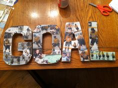 Made these out of cardboard letters from the craft store, pictures, and Modge podge to hang in a hockey fans bedroom!