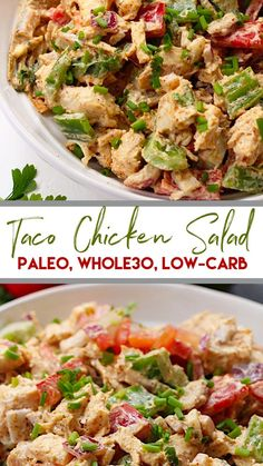 This easy taco chicken salad is a family friendly paleo reci.- This easy taco chicken salad is a family friendly paleo recipe that only takes 15 minutes to whip together. No cooking needed! Its a great salad for meal prep or side dish for any event! Whole30 Chicken Salad, Chicken Tacos, Low Carb Chicken Salad, Keto Taco Salad, Avocado Chicken, Chipotle Chicken, Cooked Chicken, Bbq Chicken, Buffalo Chicken