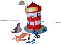 Vuurtoren speeltent met veel accessoires / playing tent lighthouse