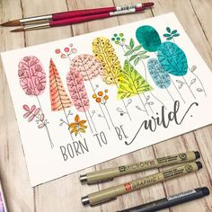 Whimsical Watercolor Trees and Simple Floral Drawings