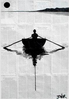 "Pen and Ink Drawing ""a simple plan"" - Saatchi Art Artist: Loui Jover; Pen and Ink. Journal D'art, Art Journals, Bel Art, Newspaper Art, Newspaper Painting, Newspaper Layout, Tinta China, Inspiration Art, Saatchi Online"