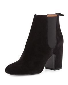 Mia Suede 85mm Chelsea Boot, Black by Laurence Dacade at Neiman Marcus.