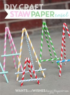 DIY Paper Easel AND other paper straw crafts Diy And Crafts, Crafts For Kids, Paper Crafts, Stick Crafts, Support Photo, Kunst Party, Diy Easel, Diy Papier, Ideias Diy