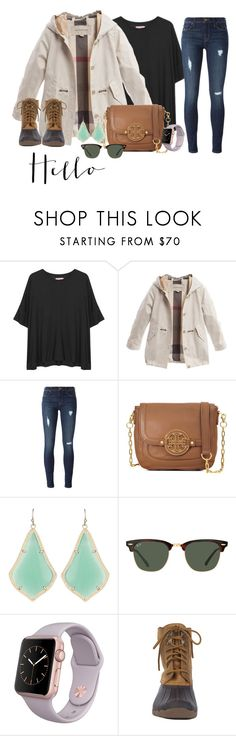 """Helllo February ❤️"" by emily-ta ❤ liked on Polyvore featuring Organic by John Patrick, Burberry, Hudson, Tory Burch, Kendra Scott, Ray-Ban and Sperry"