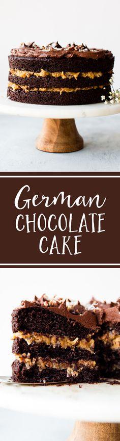 How to make German Chocolate Layer Cake! Recipe on sallysbakingaddiction.com