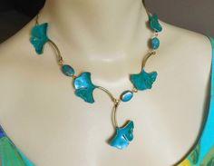 Ginkgo Leaf Necklace in Teal Turquoise w/ Blue by RenesJewelryArt