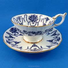 Cobalt Blue Swags and Flowers Coalport Tea Cup and Saucer Set