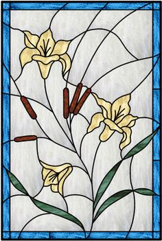 Vertical Stained Glass Window With Blue Outer Border And Leaded Flower Design