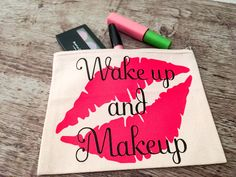 Wake up and Make up makeup bag Easy Gifts, Unique Gifts, Handmade Gifts, Customized Gifts, Personalized Gifts, Custom Makeup Bags, Stocking Stuffers For Her, Toiletry Bag, Cosmetic Bag