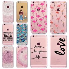7 6 S Animal Transparent Case for iPhone 7 8 6 6 S Flower Paisley Grils Flamingo Words Love Phone TPU Cover Silicone Fundas Covers