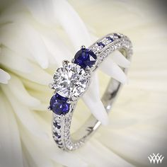 Customized 3 Stone Coeur de Clara Ashley Diamond Engagement Ring with a 0.780ct Expert Selection Diamond and Sapphires