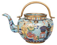 A Cloisonné Tea pot with vase decoration China, ca.1800.