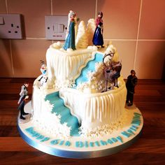 2 tier frozen double stair well cake