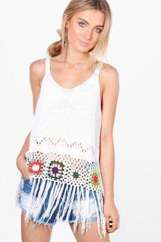 4883c9dbc4b boohoo Maisie Multi-Colour Crochet Tassel Hem Vest