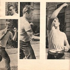 James Dean practices boxing on the set of Rebel Without a Cause.