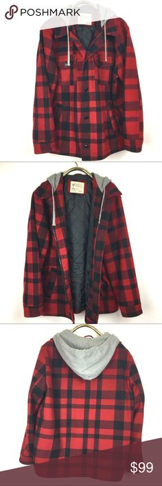 """American Eagle Buffalo Check Coat Jacket hood XXL Handsome black and Red Buffalo Check coat. Two front patch pockets with buttons at chest to front hand warmer pockets. Built in a sweatshirt hoodie with drawstring. Five button front and zipper.   *Coat  is 54% wool 3% poly 6% nylon 6% Other. Quilted poly liner with Fiberfill for warmth.  *Tag reads XXL  *Appoximate Measurements: Armpit x armpit 26.5"""" Shoulder to front hem 29"""" Sleeve 26"""" American Eagle Outfitters Jackets & Coats Pea Coats"""