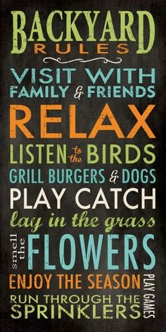 Backyard Rules by Stephanie Marrott Backyard Signs, Patio Signs, Pool Signs, Outdoor Signs, Backyard Ideas, Patio Ideas, Pool Backyard, Backyard Paradise, Outdoor Ideas