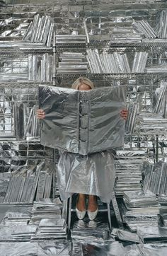 """""""Lost in my life"""" (wrapped books), deCordova Sculpture Park and Museum in Lincoln by Artist Rachel Perry Welty"""