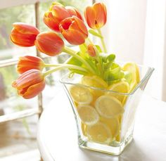 Looks just as good using silk tulips, fake lemons from Target and lemon slices from Michaels.