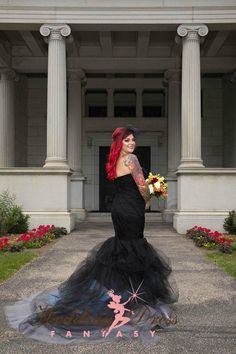 Black Ombre Wedding Dress with Tulle Mermaid Style Custom Made by Award Winning Wedding Dress Fantasy www.weddingdressfantasy.com   Have your gown custom designed by the bridal gown experts, based out of Teaneck, NJ. Call us at 201-357-4877 #corsetweddingdress #weddingdress #weddinggown #bridalgown #weddingdresses #uniqueweddingdresses #vintageweddingdresses #alternativeweddingdresses #customweddingdresses #blackweddingdress #gothicweddingdress