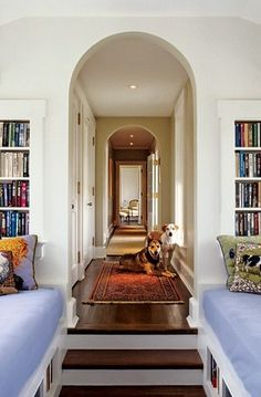 Ike Kligerman Barkley employed Neoclassical and English precedents in creating a Virginia residence for interior designer Renée O'Leary and her husband. Just over the porte cochere is a book-lined, shiplike space outfitted with two bunks. The dogs are among those the couple foster for a shelter. (June 2008)