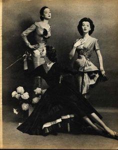 Jean Patchett, Dovima and Suzy Parker; photographed by Constantin Joffé, 1955