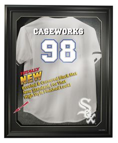 Chicago White Sox Cabinet Style Jersey Display, Black from ManCaveGiant.com