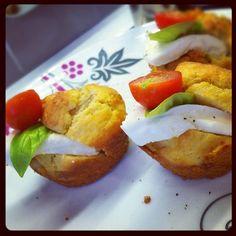 Muffin con cipolla di Tropea e pancetta