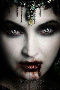 Vampire VI by SamBriggs on DeviantArt Vampire Love, Gothic Vampire, Vampire Art, Dark Gothic, Gothic Art, Vampire Queen, Vampire Tattoo, Vampire Bride, Vampire Fangs