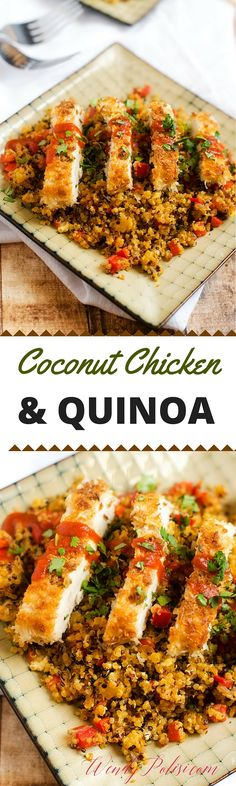 Coconut Chicken with Pineapple Fried Quinoa - This is one of  my all time favorite quinoa recipes!  It is naturally gluten free and easily made vegan by substituting tempeh.