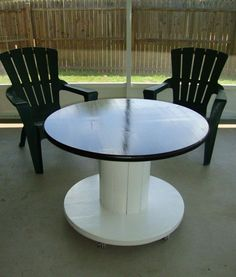Spool Table: an awesome table I made from a cable spool. Its spool-tastic.