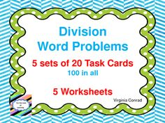 These five sets of task cards feature real world word problems  There are 20 cards in each set.  Each set of cards has a student answer sheet and an answer key.  (100 Word problems in all.)  The division problems are a 3 digit number divided by a 1 digit number.