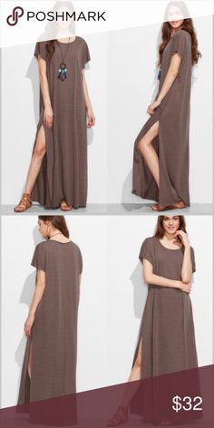 "Brown Maxi Dress Brown Maxi Dress  Features oversized loose fit  Slits on each side Scoop neckline  Slightly sheer will need a slip 100% polyester but feels like soft t-shirt material  Small white spot on front from the threading but not noticeable   ✨Small:Bust:44"" Length:57"" Bewitched Boutique Dresses Maxi"