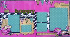 """Happy Girls"" Scrapbook Layout Kit by 2Katie Designs  www.2katiedesigns.com"