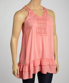 Look what I found on #zulily! Coral Beaded Crochet Tank - Plus #zulilyfinds