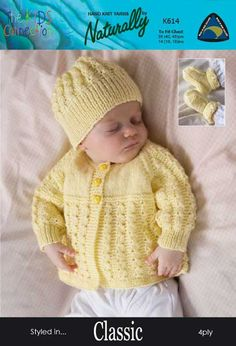 Baby matinee jacket, hat and booties in 4 ply yarn. Baby Cardigan Knitting Pattern Free, Crochet Baby Jacket, Baby Boy Knitting Patterns, Knitted Baby Cardigan, Knitted Baby Clothes, Baby Hats Knitting, Baby Patterns, Knitting Yarn, Vintage Knitting