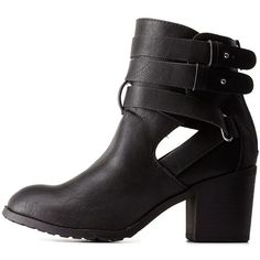 Charlotte Russe Black Double Buckle Cut-Out Bootie by Charlotte Russe... ($43) ❤ liked on Polyvore featuring shoes, boots, ankle booties, black, heeled, ankle boots, black heel boots, black bootie, cut out booties and heeled ankle boots