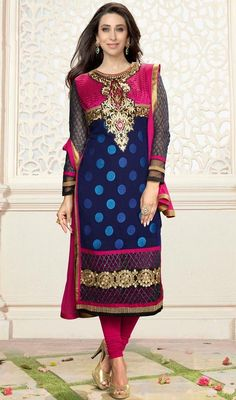 Look awesome in the style of Karisma Kapoor dressed with this blue and pink embroidered georgette churidar suit. This desirable attire is displaying some great embroidery done with karachi, polka dotted, resham and stones work. #BollywoodFancySuitDesign