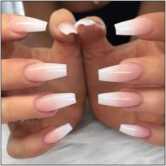 Young Nails Inc on Ombres are way prettier than French nails. French Acrylic Nails, Summer Acrylic Nails, Best Acrylic Nails, French Fade Nails, Summer Nails, Ombre French Nails, Acrylic Nail Designs Coffin, Natural Acrylic Nails, Pink Ombre Nails